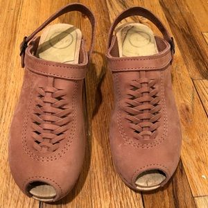 EUC No.6 pink peep-toe clogs - size 38 - mid- heel